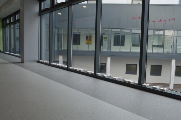 """A hospital corridor with floor to ceiling windows. Along the window ledge are small white plaster blocks. Some pink vinyl text on the window says """"hold still...I am holding still"""""""