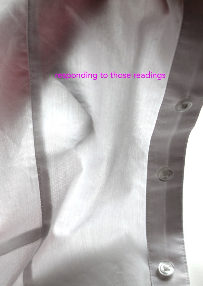 front over of 'responding to those readings' zine whcih shows part of a white shirt with some light shining through it. The title is written in a bright purple.